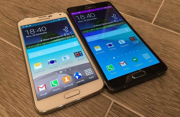 Galaxy S5 در کنار Galaxy Note 4
