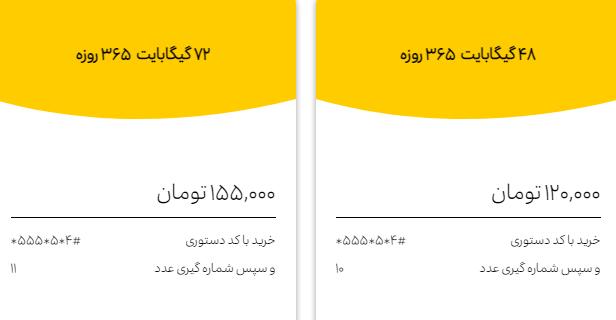 لیست بستههای اینترنت سالانه ایرانسل سال 1400 + قیمت