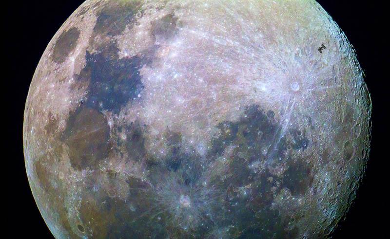 ثبت عبور ایستگاه فضایی از مقابل ماه