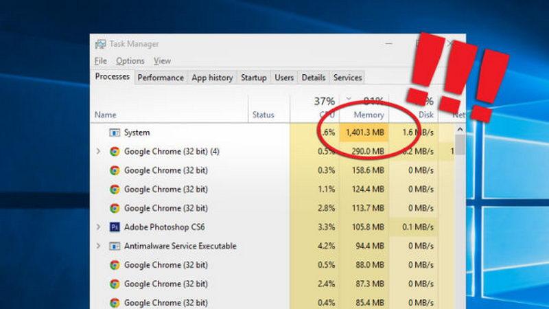 چرا پروسه System در ویندوز 10 حافظه رم زیادی مصرف میکند؟
