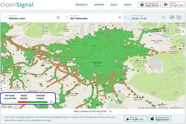 مشاهده پوشش 4G/3G اپراتورهای تلفن همراه در شهرهای ایران