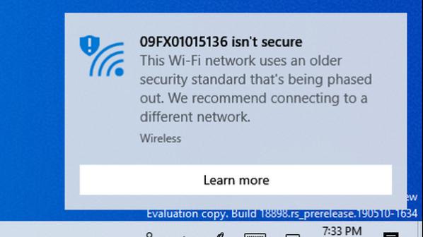 چرا ویندوز 10 میگوید شبکه وایفای شما امن نیست