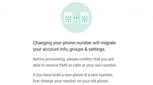 تغییر شماره تلفن در واتساپ