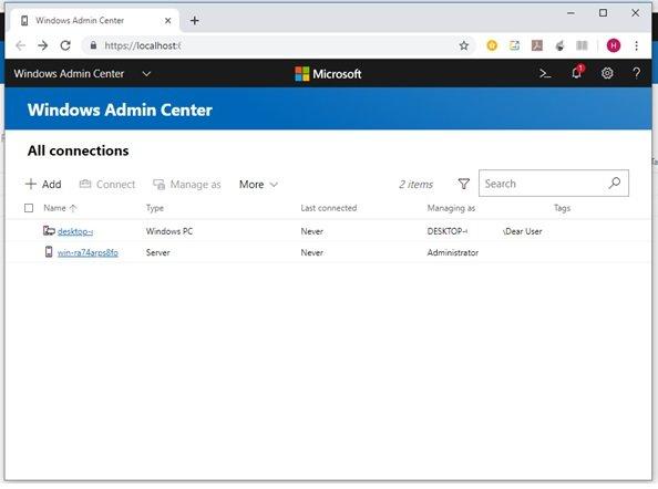 نحوه اضافه کردن سرورها و ماشینها به Windows Admin Center در ویندوز سرور 2019