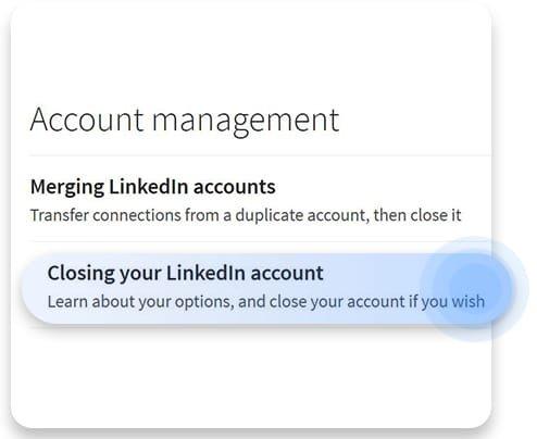 حدف حساب کاربری لینکدین برای دسکتاپ