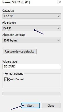 کارت حافظه را با استفاده از کامپیوتر فرمت کنید