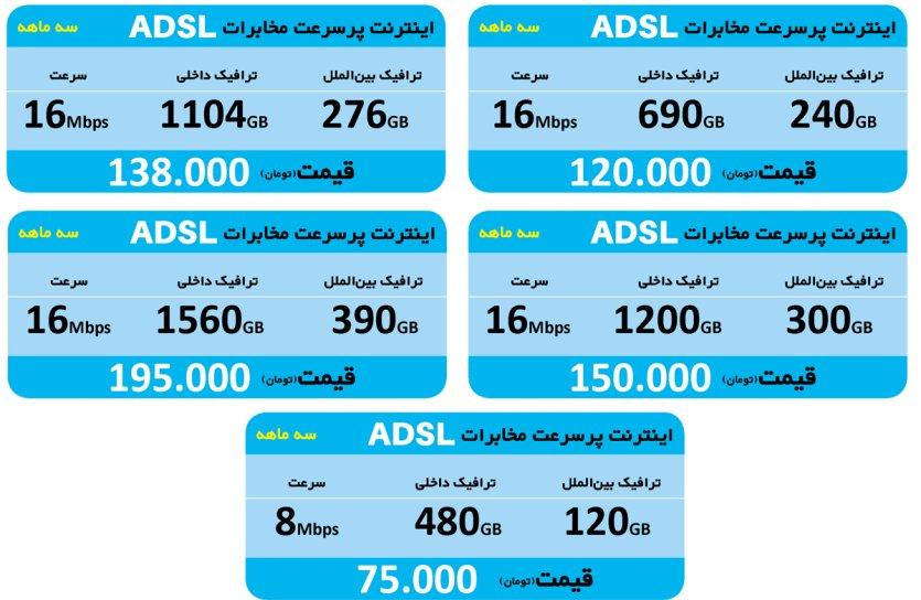 خرید بسته اینترنتADSLمخابرات سه ماهه