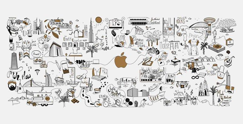 اپل فروشگاه جدیدی در دبی با دیوارهای مجهز به آثار هنری افتتاح خواهد کرد + عکس