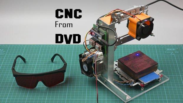 آموزش تصویری ساخت دستگاه CNC حکاکی لیزری با استفاده از قطعات DVDدرایو