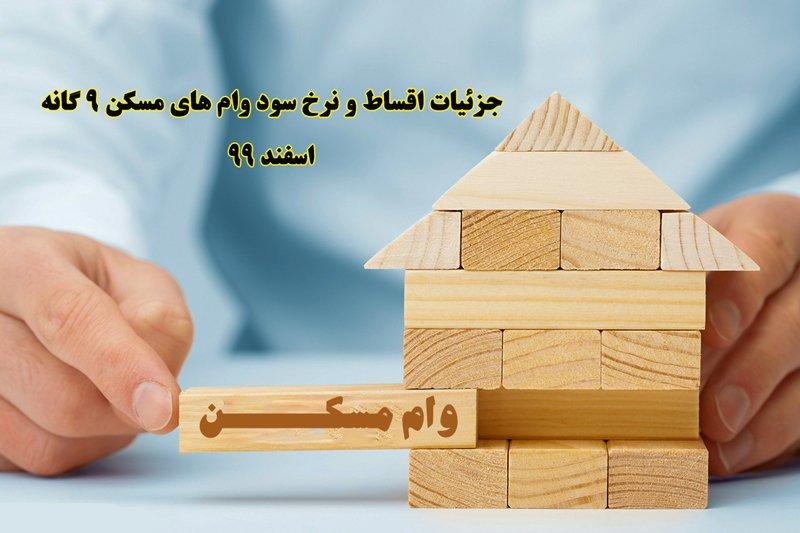 نرخ سود وام های مسکن 9 گانه ]چقدر است + جدول اقساط - اسفند 99